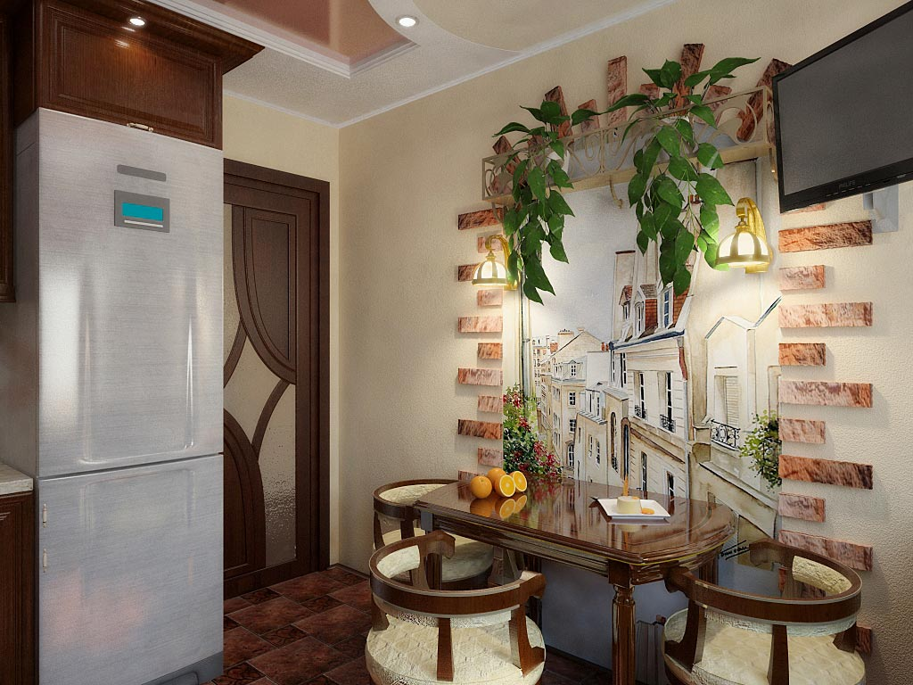Как украсить стену на кухне над обеденным столом
